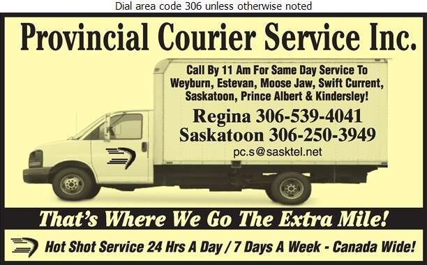 Provincial Courier Service Inc - Hot Shot Services Digital Ad