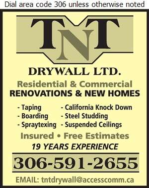 TNT Drywall Ltd - Drywall Contractors Digital Ad
