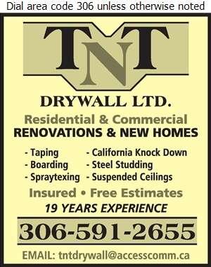 TNT Drywall Ltd - Drywall Contractors Digital Ad