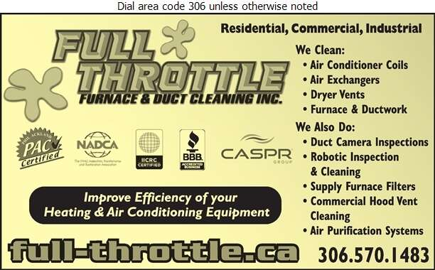 Full Throttle Furnace & Duct Cleaning Inc - Furnaces Cleaning Digital Ad