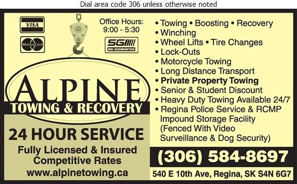 Alpine Towing & Recovery - Towing & Boosting Service Digital Ad