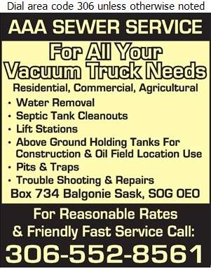 AAA Sewer Service - Septic Tanks Sales & Service Digital Ad