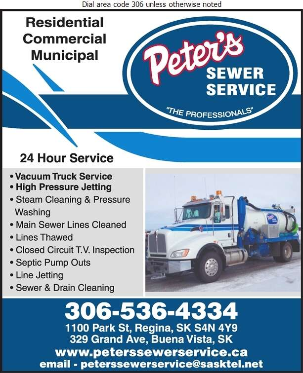 Peter's Sewer Service - Sewer Contractors Digital Ad