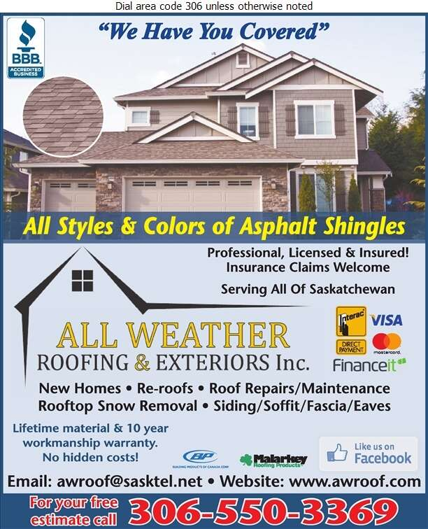 All Weather Roofing & Exteriors Inc - Roofing Contractors Digital Ad