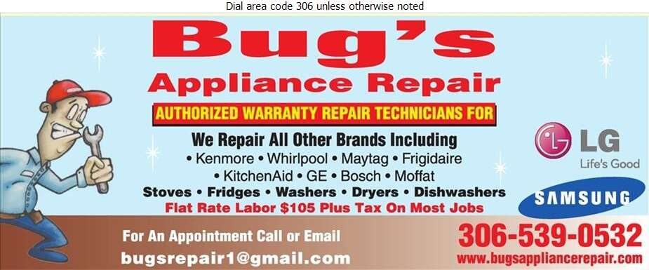 Bug's Appliance Repair - Appliances Major Sales, Service & Parts Digital Ad