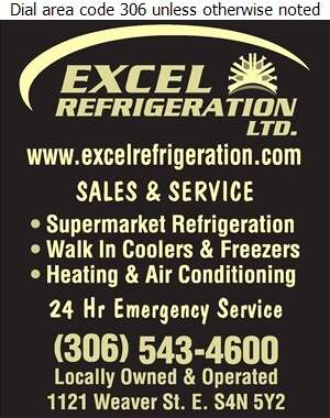 Excel Refrigeration (Regina) Ltd - Refrigeration Contractors Digital Ad