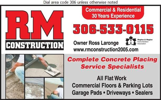 R M Construction - Concrete Contractors Digital Ad