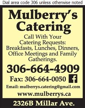 Mulberry's Restaurant - Caterers Digital Ad