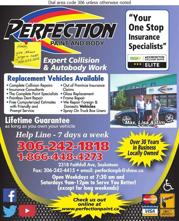 Perfection Paint & Body - Auto Body Repairing Digital Ad