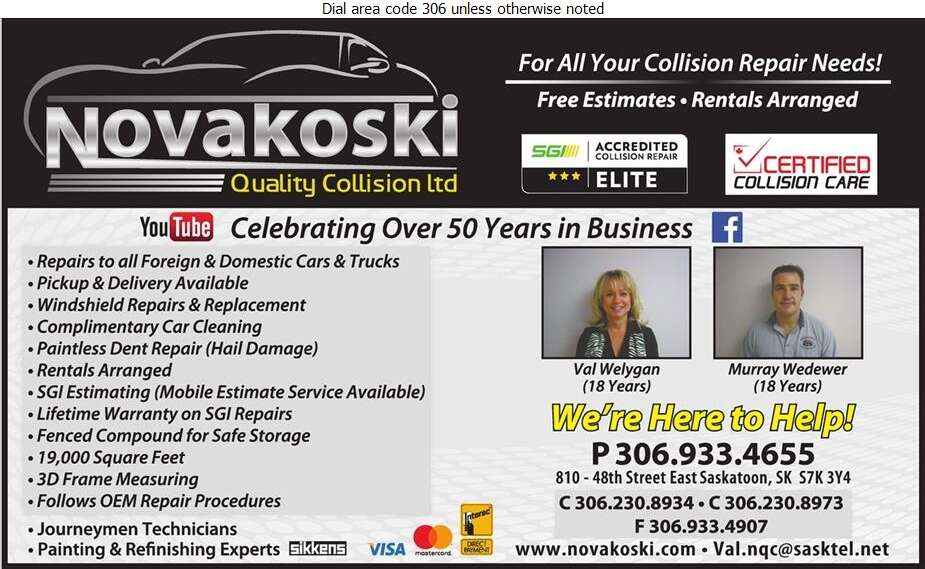 Novakoski Quality Collision Ltd - Auto Body Repairing Digital Ad