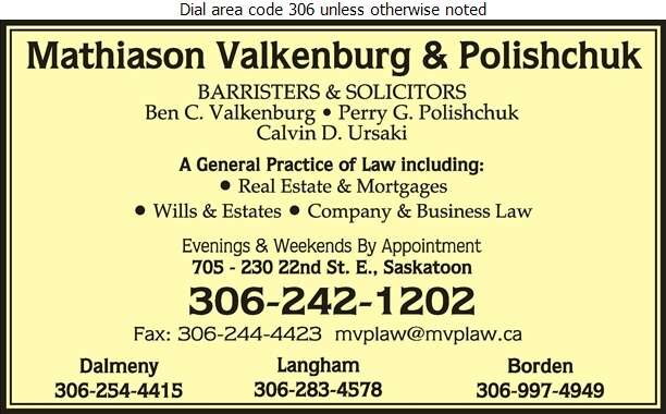 Mathiason Valkenburg & Polishchuk - Lawyers Digital Ad