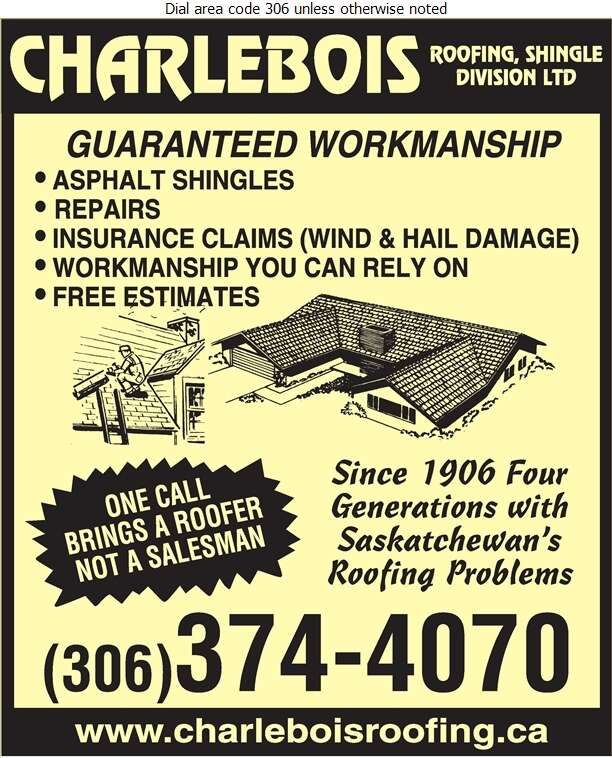 Charlebois Roofing Shingle Division Ltd - Roofing Contractors Digital Ad