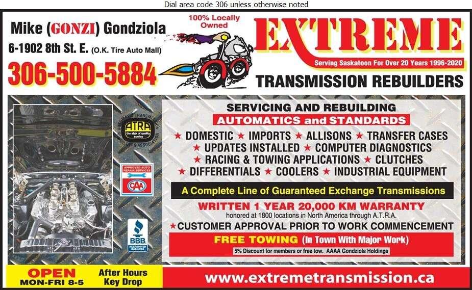 Extreme Transmission Rebuilders - Transmissions Auto Digital Ad