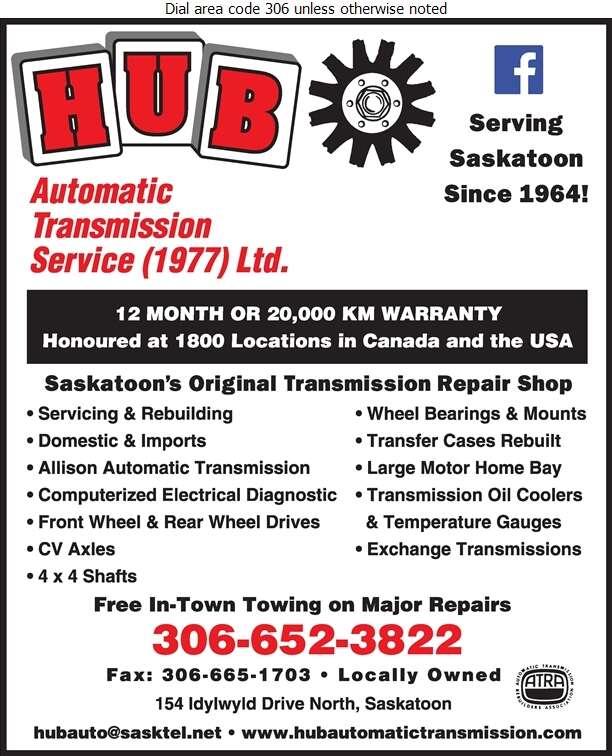 Hub Automatic Transmission Service (1977) Ltd - Transmissions Auto Digital Ad