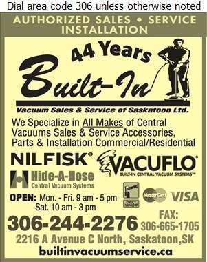 Built-In Vacuum Sales & Service of Saskatoon - Vacuum Cleaners Household Sales & Service Digital Ad