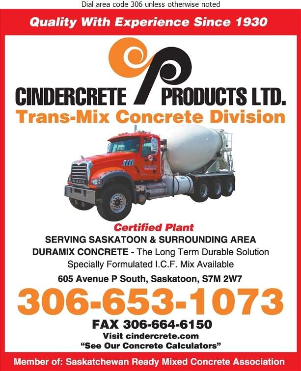Cindercrete Products Ltd - Concrete Ready Mixed Digital Ad