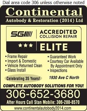 Continental Auto Body & Restoration Ltd - Auto Body Repairing Digital Ad