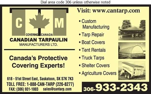 Canadian Tarpaulin Manufacturers Ltd - Tarpaulins Digital Ad
