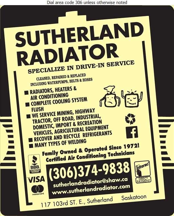 Sutherland Radiator Services Ltd - Radiators Auto & Industrial Digital Ad