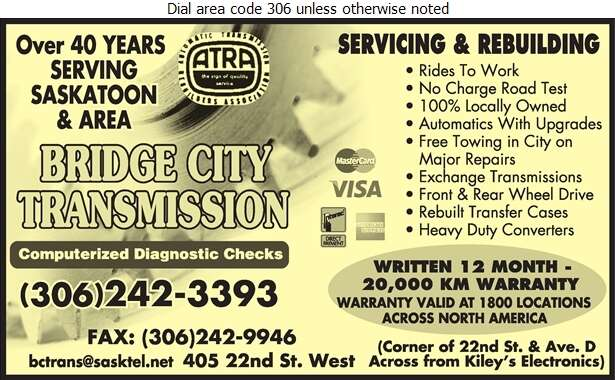 Bridge City Transmission Ltd - Transmissions Auto Digital Ad