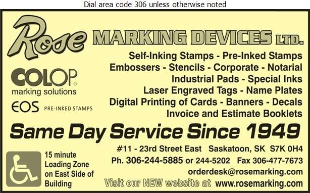 Rose Marking Devices Limited - Rubber & Plastic Stamps Digital Ad