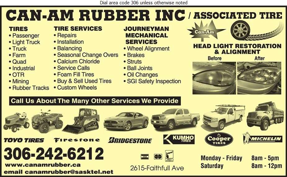 Can-Am Rubber Inc - Tire Dealers Retail Digital Ad