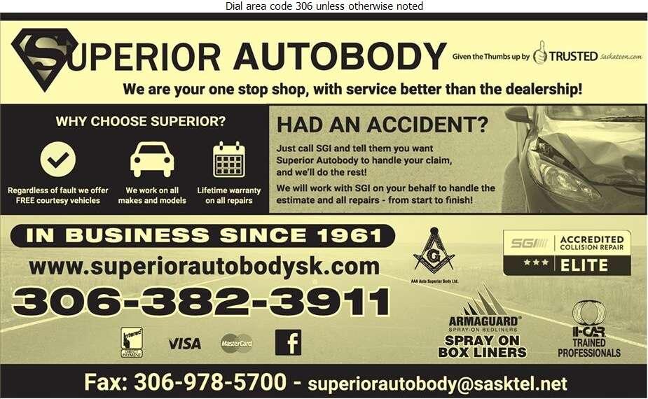 Superior Auto Body Ltd - Auto Body Repairing Digital Ad