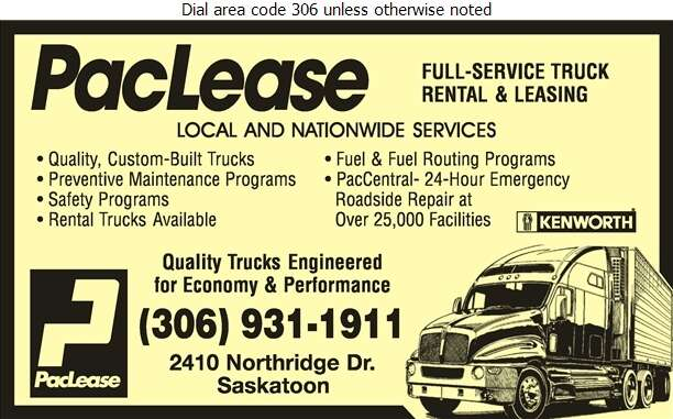 PacLease - Truck Renting & Leasing Digital Ad