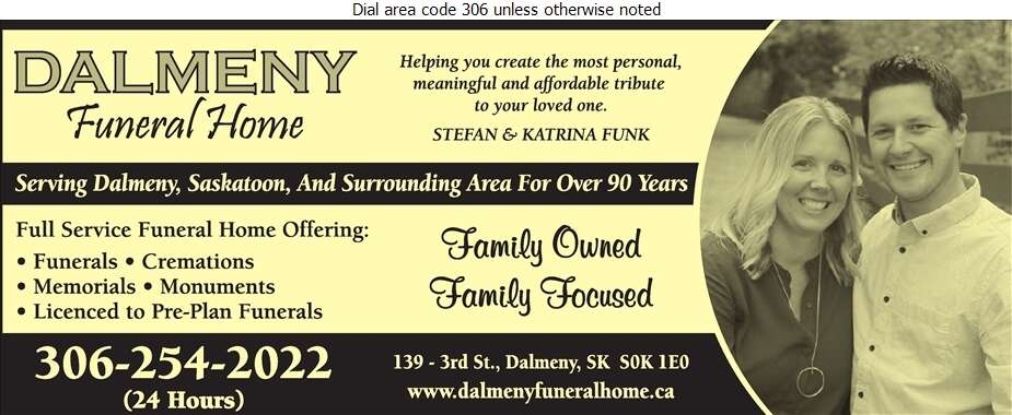 Dalmeny Funeral Home - Funeral Homes & Planning Digital Ad