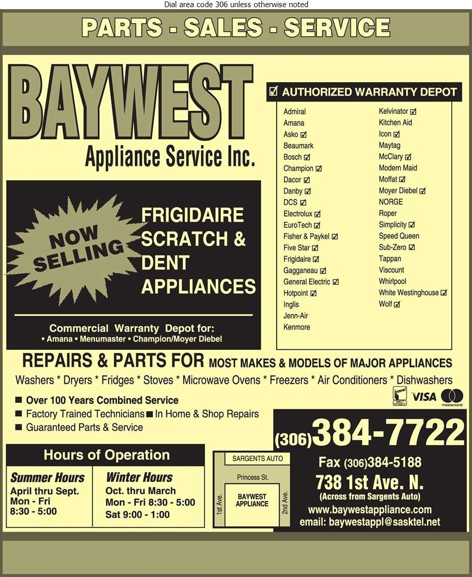 Baywest Appliance Service Inc - Appliances Major Sales, Service & Parts Digital Ad