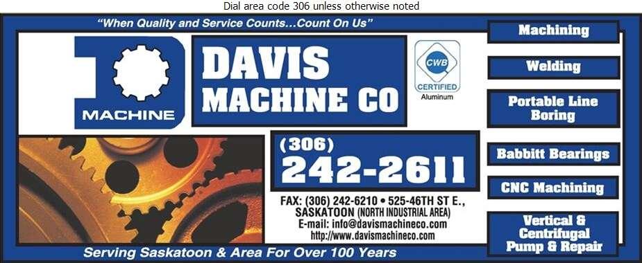 Davis Machine Co - Machine Shops Digital Ad