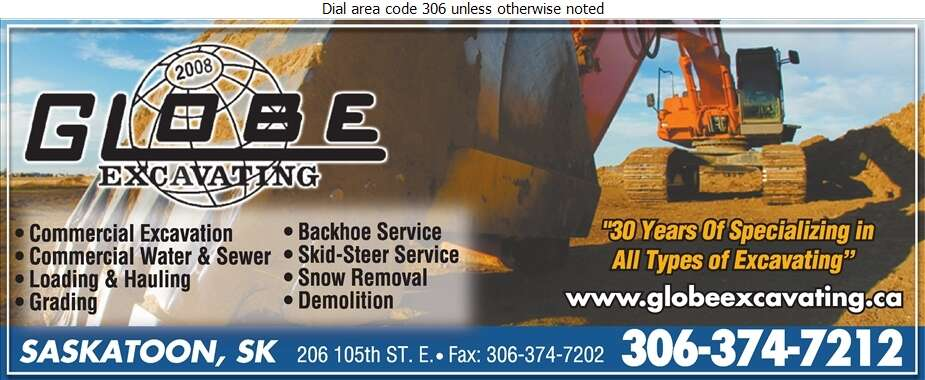 Globe Excavating (2008) - Excavating Contractors Digital Ad