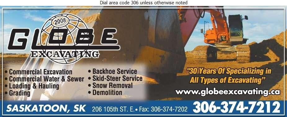 Globe Excavating (2008) - Excavating Contractors Digital Ad