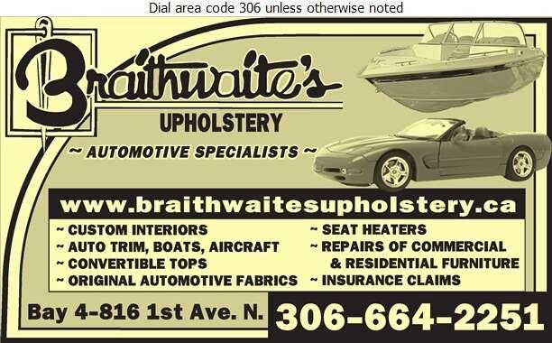 Braithwaite's Upholstery (1989) Ltd - Upholsterers Digital Ad