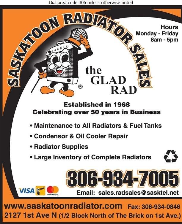 Saskatoon Radiator Sales & Service Ltd - Radiators Auto & Industrial Digital Ad