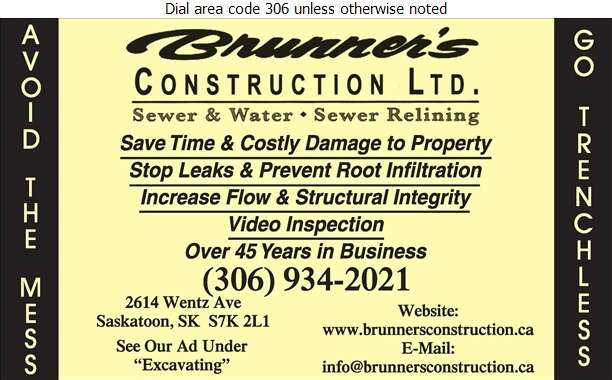 Brunner's Construction Ltd - Sewer Contractors Digital Ad