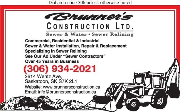 Brunner's Construction Ltd - Excavating Contractors Digital Ad