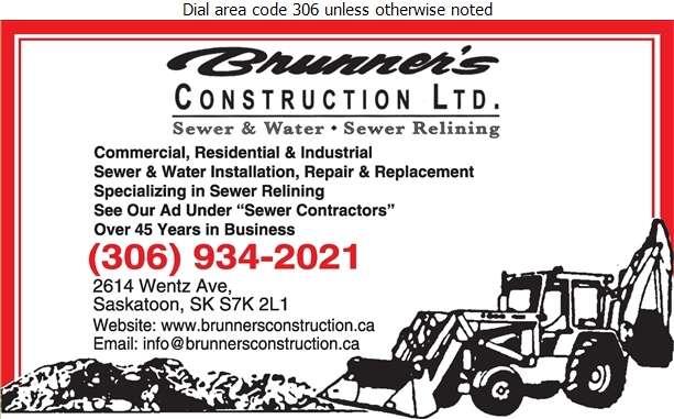 Brunner's Construction Ltd - Excavating Contractors Digital Ad