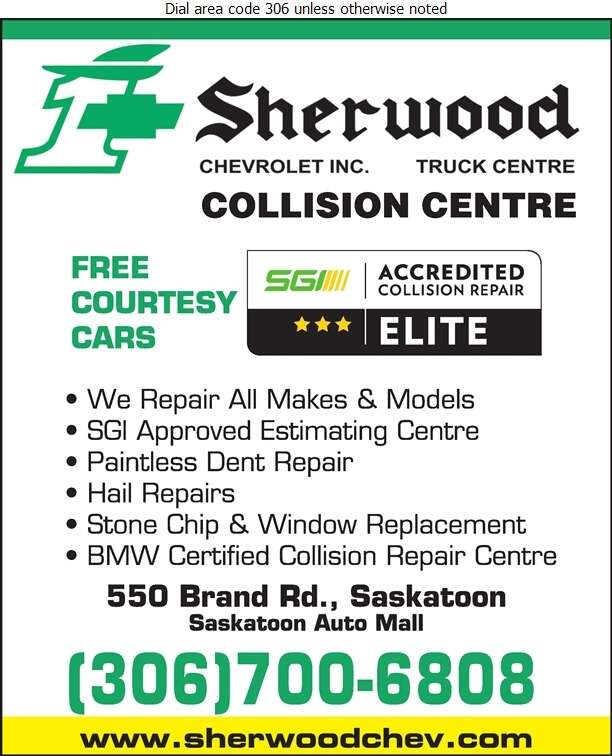 Sherwood Chevrolet Truck Centre (Accounting Dept Fax) - Auto Body Repairing Digital Ad