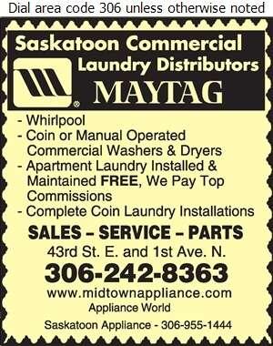 Saskatoon Appliance Distributors Ltd - Laundry Equipment Digital Ad