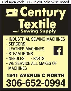 Century Textile & Sewing Supply - Sewing Machines Industrial Digital Ad