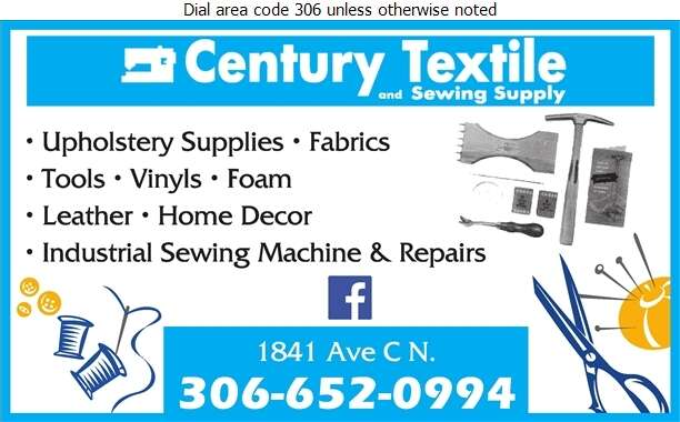 Century Textile & Sewing Supply - Upholsterers' Supplies Digital Ad