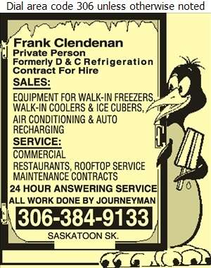 Frank Clendenan (Formely D & C Refrigeration Sales & Service) - Refrigerating Equipment Commercial Sales & Service Digital Ad