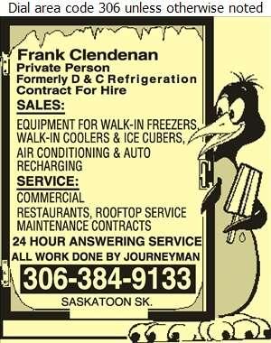 Frank Clendenan (Formely D & C Refrigeration Sales & Service) - Refrigerating Equipment Commercial Sales & Service Digital Ad