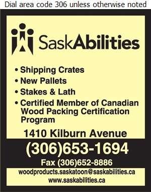 Saskatchewan Abilities Council (Depot/Repairs/Admin SPECIAL NEEDS EQUIPMENT) - Pallets & Skids Digital Ad