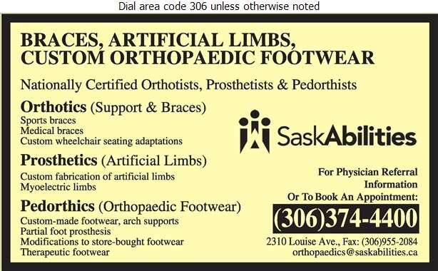 Saskatchewan Abilities Council (Depot/Repairs/Admin SPECIAL NEEDS EQUIPMENT) - Orthopaedic Appliances Digital Ad