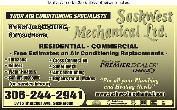 Saskwest Mechanical Ltd - Air Conditioning Contractors Digital Ad