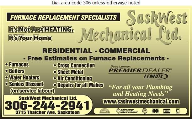 Saskwest Mechanical Ltd - Heating Contractors Digital Ad