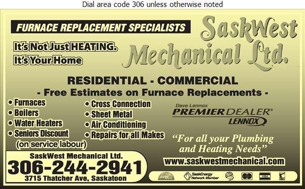 Saskwest Mechanical Ltd - Heating Contractors Digital Ad