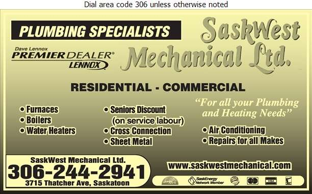 Saskwest Mechanical Ltd - Plumbing Contractors Digital Ad